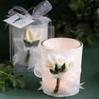 Set of 6 Stunning Calla Lily Design Candle Wedding & Party Favours White