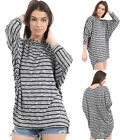 Ladies Baggy Stripped Tops Jumper Oversized Womens Blouse Loose Batwing Shirt
