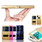 View Window Luxury Slim PU Leather Flip Silk pattern Cover Case For Smart Phone