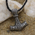 Mens Vintage Nordic Norse Viking Mjolnir Thor's Hammer Pendant Necklace Amulet photo