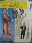 McCalls Sewing Pattern 6143 Adults Small Sam Tails Suit Top Hat Liberty Costume