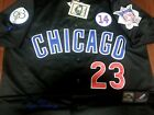 black Chicago Cubs Throwback 23 Ryne Sandberg Cooperstown 3Patches sewn Jersey