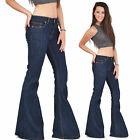 New Womens Dark Blue 60s 70s Retro Bell Bottoms Flares Hippy Wide Flared Jeans
