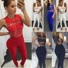 Women Ladies Sleeveless Bodycon Lace Romper Jumpsuit Party Mesh Joint Bodysuit