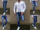 Men's Fashion UK Style Embroidery Skinny Fit Young Stonedwash Jeans Trousers