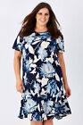 NEW Clarity By Threadz Womens Knee Length Dresses Jersey Floral Dress Navy