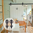 4FT~16FT Big Strap Spoke Wheel Wood Sliding Barn Door Hardware Closet Single Kit