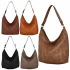 New Ladies Slouch Faux Leather Casual Shoulder Hobo Bag Handbag