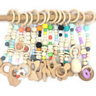 Wooden Animal Teether Baby Play Gyms Stroller Toys Silicone Beads Teething Toy