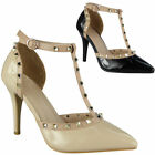 Womens Ladies Studded T-Bar Ankle Strap Heel Party Fashion Shoes Sandals Size