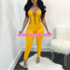 Fashion Off Shoulder Pu Leather Lace UP Sexy Backless Skinny Body con Jumpsuit#J