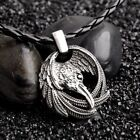 Nordic Viking Raven Wolf hammer Silver Pendant Leather Cord Necklace Jewelry Set photo