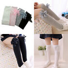 For Kid Girls Cotton Socks Tights Bowknot Leg Warmer School High Knee Stockings