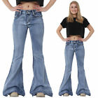 New Womens Ladies Light Blue 60s 70s Retro Bell Bottoms Flares Wide Flared Jeans