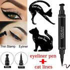 3Pcs Dual-ended Liquid Eyeliner Pen+Stamp Cat Eyeshadow Ruler Template Card OU