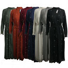 Womens Ladies Long Lace Pearl Kimono Open Front Abaya Maxi Style Belted Cardigan