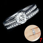 Nice Women Engagement Wedding 2Pcs Ring Set Cubic Zirconia Silver Ring Jewelry