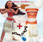 Women Girls Moana Dress Costume Animie Movie Polynesia Princess Fancy Necklace