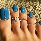 BOHO FESTIVAL BEACH HOLIDAY RHINESTONE SET OF 3 TOE RINGS TO FIT XS-M UK SELLER