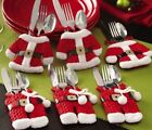 Christmas Table Decorations 2019 Red Santa Suits Cutlery Holders Novelty Gifts
