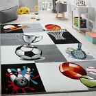 Children Play Mat Sports Themed Checked Thick Kids Bedroom Rug Easy Clean Carpet