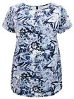 Plus Size Pretty Blue And Lavender Flowered Tunic Top with ruched side seam