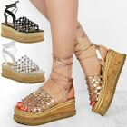 Womens Ladies Flatforms Sandals Lace Up Studded Gladiator Summer Platforms Size