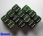 15mm D6 Dice Set 6 or 12 Gold Mist Green Spot Spotted Dot Dotted Pipped Fantasy