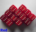 15mm D6 Dice Set 6 or 12 Gold Mist Red Spot Spotted Dot Dotted Pipped Warmachine