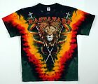 RASTA LION KING-MARLEY-DREADS-TIE DYE T-SHIRT  XL ONLY IRIE