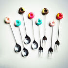 Portable Cute Kids Cutlery Spoon Fork Home Tableware Cake Fruit Dessert Flatware