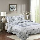 Fancy Linen Reversible Bedspread Floral White Blue Green All Sizes New  image