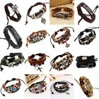 Men Women Adjustable Genuine Leather Bracelet Bangle Wristband Punk Cuff Beaded image