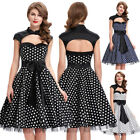 Dress Size Cocktail Dots Retro Vintage Party Swing Polka 50s Black/white 60s