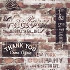 NEW YORK GRAFFITI TERRACOTTA RED RUSTIC BRICK WALL RETRO WALLPAPER 238600