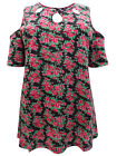 Ex Ivans Plus Size Black Floral Cold Shoulder Top / Tunic  **FREE POSTAGE**