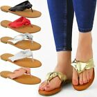 Womens Ladies Flat Open Toe Post Summer Flip Flop Sandals Holiday Beach Size New