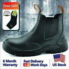 Safetoe Safety Work Boots Mens Shoes Steel Toe Black Leather Slip on US 2 13