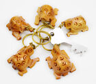 50-100pc Hand Carved Wooden Turtle Key Ring,keychain ,wood Key Holder Keychain