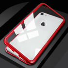 For iPhone X Luxury Magnet Adsorption Metal Frame Case Back Tempered Glass Cover