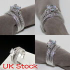 Uk Women Engagement Wedding Ring Set Cubic Zirconia 925 Silver Ring Jewelry Gift