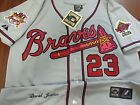 NEW!! Atlanta Braves Throwback #23 David Justice Dual patch Stitched Jersey Gray on Ebay