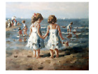 Hand Painted Antique Original Canvas Oil Painting Children on Beach