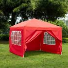 3x3m Sides Pop Up Marquee Gazebo Tent Garden Party Waterproof Windbars Carry Bag
