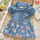 Kids Baby Girls Short Sleeve Princess Dress Outfit Denim Party Sundress Clothes <br/> ✔Amazing Price✔Cowboy✔Beautifuly✔