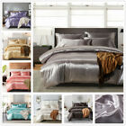 Elegant Bed Linen Solid Bright Smooth Bedclothes Silk Bedding Set Single Double