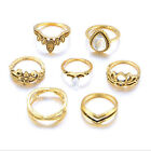 7Pcs/Set fashionTrend Rings Set Gemstone Knuckle Rings Midi Rings Jewelry