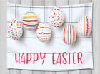 Happy Easter Color Eggs on Wooden Tapestry Wall Hanging for Living Room Bedroom