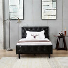 Twin/Full/Queen Bed Frame PU Leather Button Tufted Upholstered Platform Bedroom