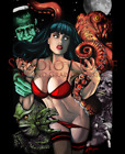 Classic Horror Movie Monster Pinup Girl Print Sexy Lowbrow Pop Art Style